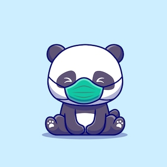 Cute panda sitting and wearing mask cartoon   icon illustration. animal healthy icon concept isolated  . flat cartoon style