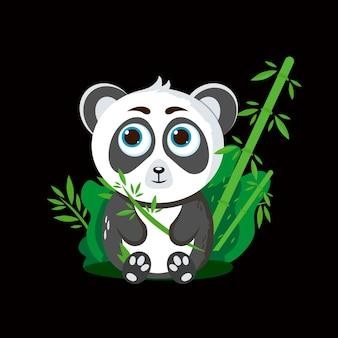 귀여운 팬더. 대나무와 함께 앉아. 어린이 위한 벡터 일러스트 레이 션. 검은 배경에 고립.
