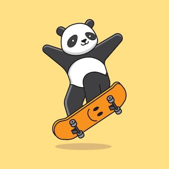 Cute panda skateboard