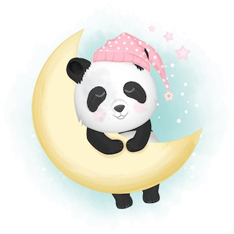 Cute panda sleeping hand drawn illustration