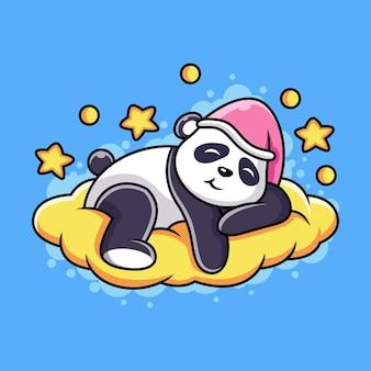 オレンジ色の雲のアイコンイラストで眠っているかわいいパンダ。かわいいポーズの動物マスコット漫画のキャラクター