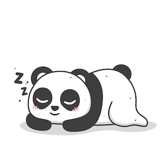 Cute panda sleeping and smiling