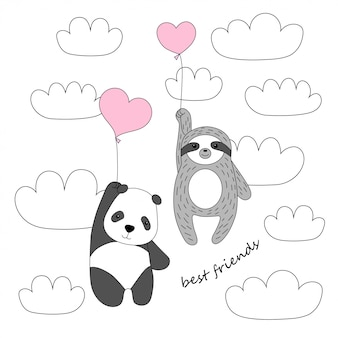 Cute panda and sloth fly on balloons in the sky