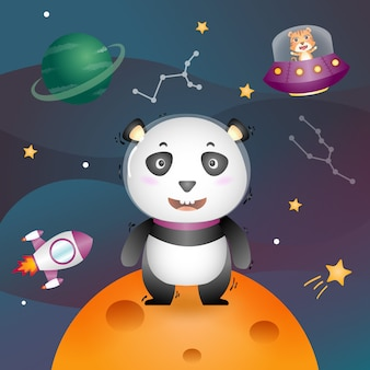 A cute panda in the space galaxy