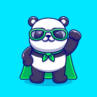 かわいいパンダのスーパーヒーローの漫画のアイコンのイラスト。分離された動物のヒーローアイコンの概念。フラット漫画スタイル