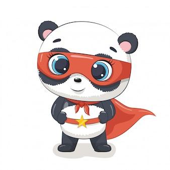 Cute panda super hero.