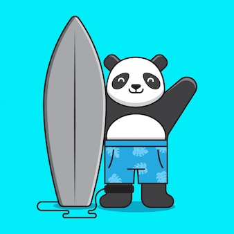 Cute panda surfing