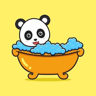 Cute panda take a bath cartoon icon illustration. design isolated flat cartoon style