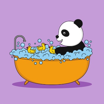 Cute panda taking a bath