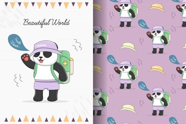 Симпатичная панда путешественник бесшовные модели и карты