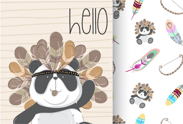 Cute panda tribal with seamless pattern