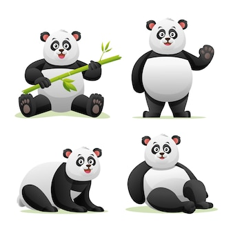 Cute panda in various poses cartoon illustration