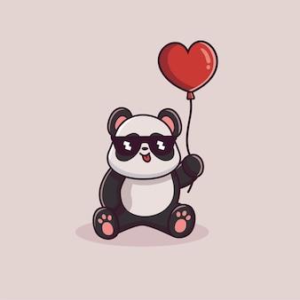 Cute panda vector holding hearth baloon