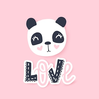 Cute panda vector illustration. funny cartoon animal character.