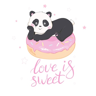 Cute panda vector illustration