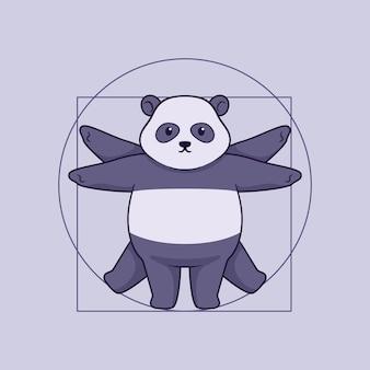 귀여운 팬더 비트루비안 일러스트 컨셉