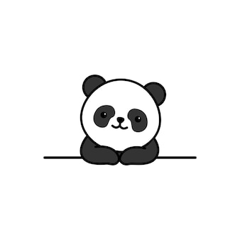 Cute panda over wall cartoon