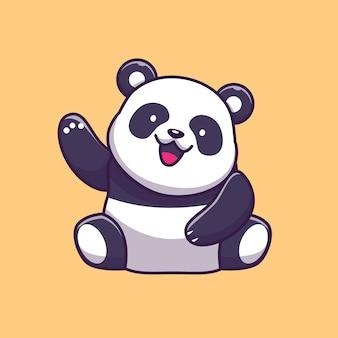 귀여운 팬더 흔들며 손 아이콘 그림입니다. 팬더 마스코트 만화 캐릭터. 고립 된 동물 아이콘 개념