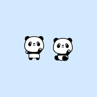 Cute panda waving paw cartoon, vector illustration