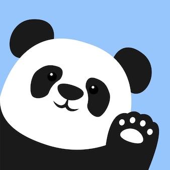 Cute panda waving paw