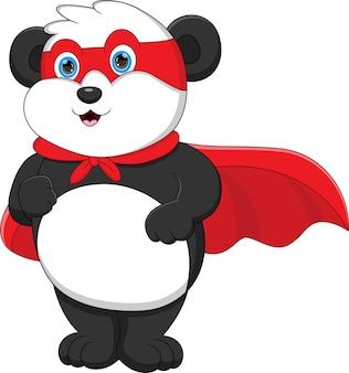 슈퍼 히어로 의상을 입고 귀여운 팬더
