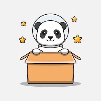 Cute panda wearing astronaut suit in the cardboard