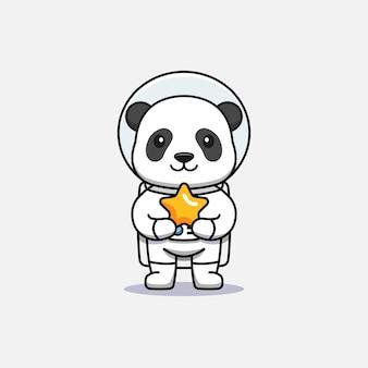 Cute panda wearing astronaut suit carrying a star