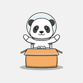 Милая панда в костюме космонавта в картоне