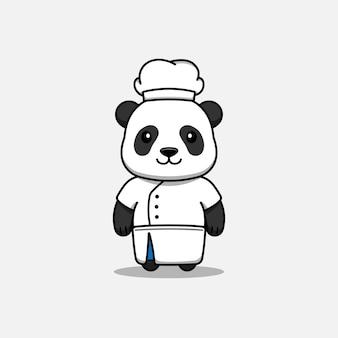 요리사 유니폼을 입고 귀여운 팬더