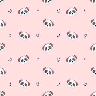 Cute panda wearing headphone seamless pattern