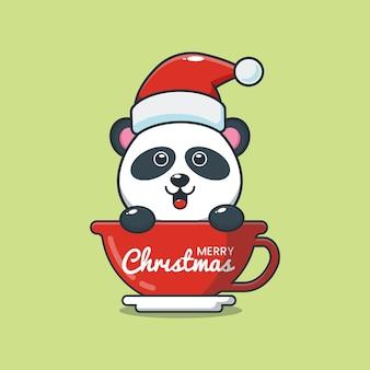 Cute panda wearing santa hat in cup cute christmas cartoon illustration
