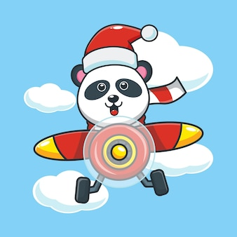 Cute panda wearing santa hat fly with plane in christmas day cute christmas cartoon illustration
