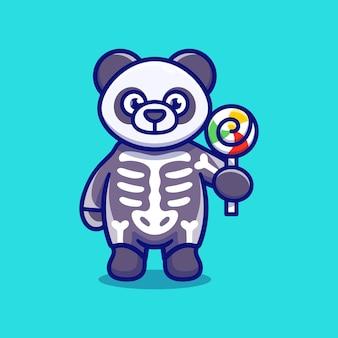 スケルトンのハロウィーンの衣装を着て、ロリポップを運ぶかわいいパンダ