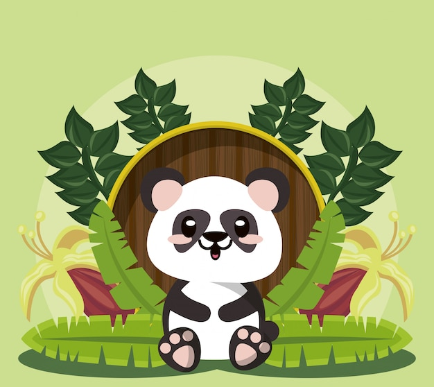 Cute panda wild animal character icon