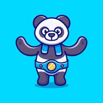 귀여운 팬더가 복싱 경기에서 승리했습니다.