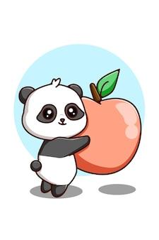 Милая панда с яблоком иллюстрации шаржа животных