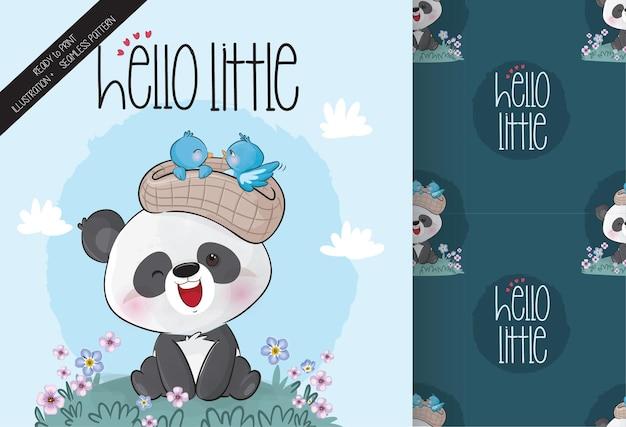 Cute panda with baby birds seamless patterns