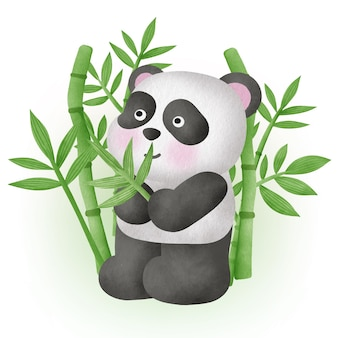 Cute panda with bamboo in watercolor style