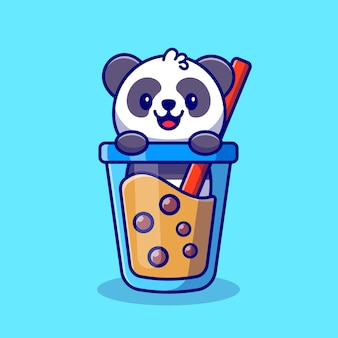 Cute panda with boba milk tea cartoon icon illustration animal drink icon concept premium. flat cartoon style