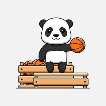 Cute panda with box full of basket ball