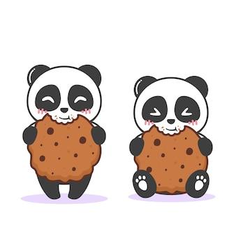茶色のクッキーとかわいいパンダ
