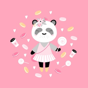 Cute panda with candy, coffee, cakes and hearts.
