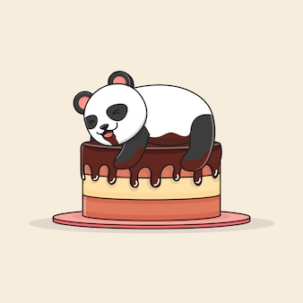 Cute panda with chocolate cake
