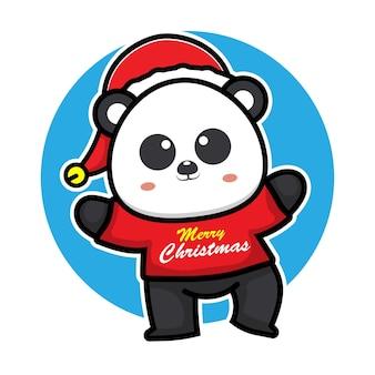 Cute panda with christmas costume cartoon character animal christmas concept illustration