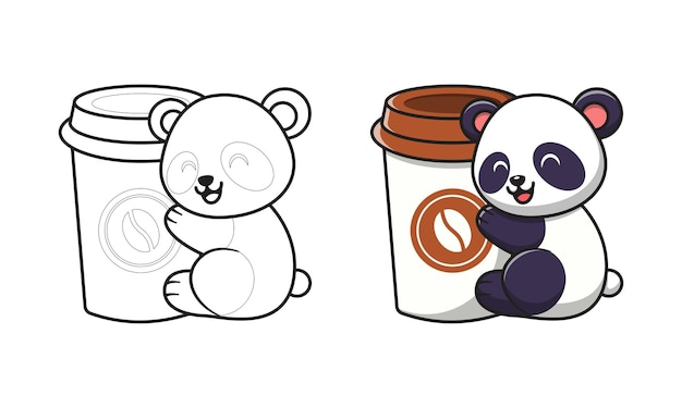 Cute panda with coffee cup cartoon coloring pages for kids