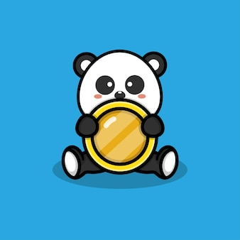 Cute panda with coins illustration