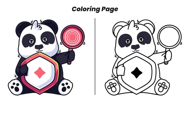 Cute panda with coloring pages suitable for kids