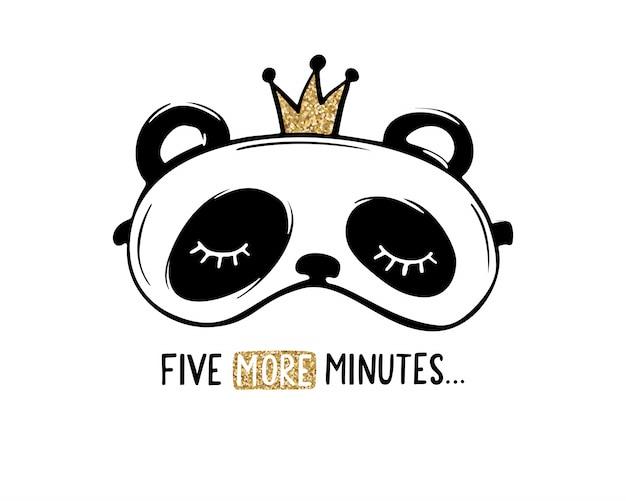 Cute panda with crown sleep mask. pajama party card. golden glitter design.