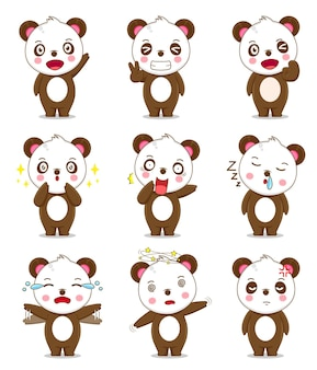 다른 표정으로 귀여운 팬더