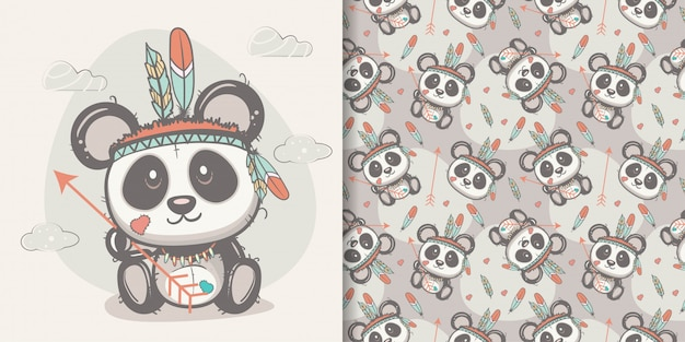 Cute panda with feathers with seamless pattern